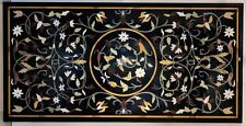 4'X2.5' black marble table top coffee center inlay lapis mosaic home decor