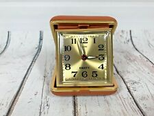 Vintage Equity Travel Alarm Clock Wind Up Gold Face Brown Folding Case Compact