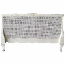 "Antique White Bed Head Board Mahogany French Style Rattan Headboard 4'6"" + King"