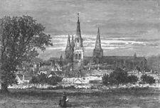 STAFFS. Lichfield, south 1898 old antique vintage print picture