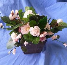 F05   Soft Pink Tiny Rose Floral Arrangement in Rustic Wooden Container