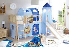 Lit mezzanine avec toboggan et tour EKKI Pin massif naturel tissus Pirate Bleu c