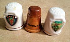 Vintage Estate Sewing Thimbles Lot Travel Souvenirs Iowa Maine New Mexico Cerami
