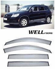 For 09-UP VW Tiguan WellVisors Side Vent Window Deflector Visors W/ Chrome Trim