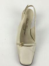 Salvatore Ferragamo Womens DL 12307 C40 Beige Heels Slingback Pump Size.US.5.5