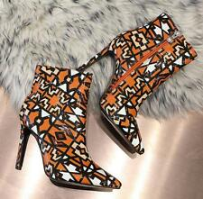New Womens Geometric designs pointy toe stilettos high heel ankle boots