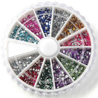 3000pcs rhinestone decoration gel nail manicure tip round glitter 12 color  SH