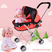 55cm Pretend Play Walker Doll Stroller Pram Kids Toy Children Carriage Folding