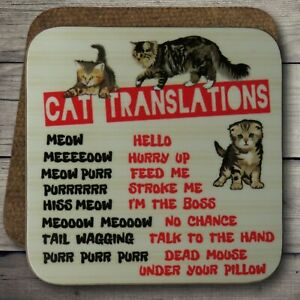 Cat Drinks Coaster, Cat Translations, Cat Mom, Cat Words, Funny Cat Coasters.
