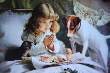"Vintage art ""Suspence"" Girl praying dog and kitten by Charles Burton Barber """