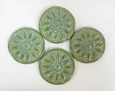 Floral Medallion Tiles Handmade Ceramic Craft / Mosaic Tiles Green Blue 4 pcs