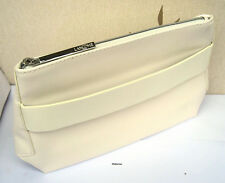 LANCOME LARGE FAUX LEATHER WHITE WITH STRAP LINED MAKE UP/TRAVEL BAG  - NEW
