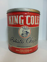 Vintage Maine King Cole Brand Potato Chips Metal Advertising Can Tin Litho w Lid