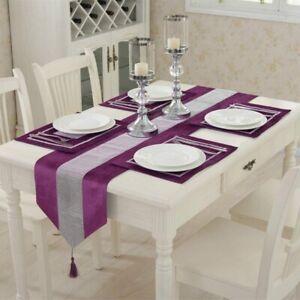 Diamante Crushed Velvet Table Runner Purple Tasseled Edges Christmas Decor UK