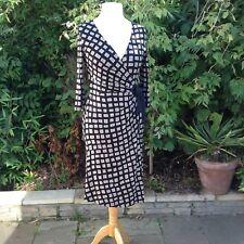 FENN WRIGHT MANSON Petite Stretch Jersey Wrap Dress~Black Print~Silk Trim~UK8