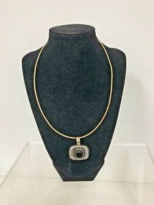 Reversible 10K Yellow & White Gold Flexible Neck Ring with Adjustable Extender