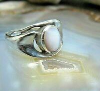 anmutiger kinder? ring silber 925 mit perlmutt cabochon 16 mm ca 90er