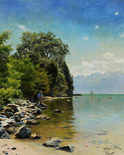LAGO DI GINEVRA Peder MORK monsted 24' tela