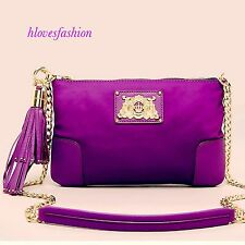 ✨💜JUICY COUTURE Purple Nylon Leather Tassel Gold Chain Crossbody Bag FAST📮💜✨