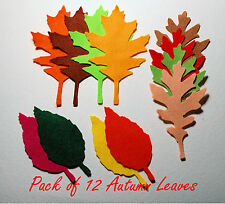 12 x Felt Autumn Leaves Die Cut Leaves Autumn Colours halloween red orange brown