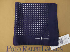 POLO RALPH LAUREN Pocket Square Dotted Italy Made Navy Silk Hankie BNWT RRP£75