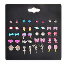 20 Pairs Kids Stud Earrings Set Mixed Color Cute Animal Heart Pearl Studs Kit