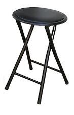 set of 6 PC folding chair round soft padded  stool heavy duty frame metal  black