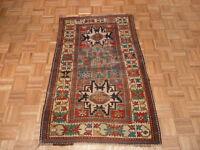 3'3 X 5 Hand Knotted Multicolored Antique Fine Kazak Oriental Rug Veg Dyes G2813
