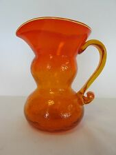 "SMALL VINTAGE ORANGE AND YELLOW RAINBOW CRACKLE  5 1/2 ""GLASS PITCHER"