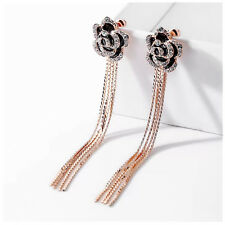 Fashion Black Rose Flower Long Tassel Drop Dangle Earrings with Rhinestones