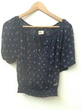 HOLLISTER Navy Blue Floral Print Sheer Crop Peasant Blouse, Size XS