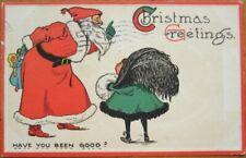 Christmas 1912 Postcard: Santa Claus & Doll, Child