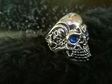 Anillo de calavera cráneo ojos azules Gothic punk hiphop Biker tamaño 60