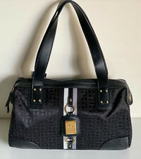 NEW! TOMMY HILFIGER BLACK BOWLER SATCHEL TOTE BAG PURSE HANDBAG $85 SALE