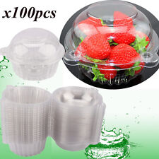 100pcs Single Clear Plastic Cupcake Boxes Holder Muffin Case Pods Cup Domes UK