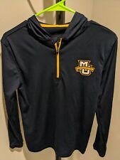 Marquette University Mu 1/4 Zip Hooded Shirt Small S sporty material Free Ship