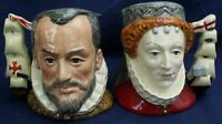 Royal Doulton small character jugs QUEEN ELIZABETH 1 & KING PHILIP Spain Ltd Edt