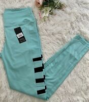 Womens Teal Blue With Mesh Active Sports Workout Leggings Pockets Size Large/XL