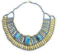 Pharaoh Costume HandMade Multi Beaded Cleopatra  Scarab Necklace Collar   234