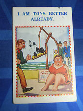 Vintage Comic Postcard 1930s Weigh Scales Fortune Weighing Machine BBW Fat Lady