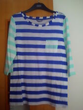 M & S Pure Cotton Contrast Sleeve Striped Top BNWT Size 18