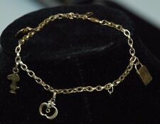 "14k Yellow Gold Bracelet - Single Charm Chain  - 7 1/2"" Long - Snoopy Heart"