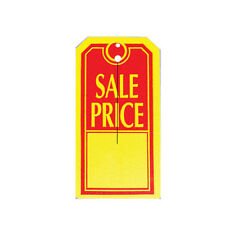 """1000 Large """"SALE PRICE"""" Tags Red & Yellow Heavy Duty Paper Stock 4 3/4"""" x 2 3/8"""""""
