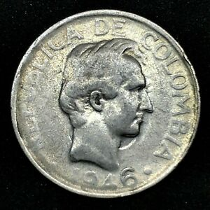 COLOMBIA REPUBLIC 1946 (m) - VEINTE (20) CENTAVOS - SILVER COIN KM# 208.3