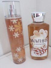 2 Bath & Body Works Snowflakes & Cashmere Fragrance Mist & Shower Gel New
