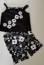 Baby Girls 2 Pc B&W Hawaiian Floral Top & Pant Set by Miniwear  Sz 3/6M EUC