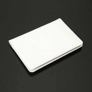ID Credit Card Holder Case Wallet Faux Leather Business Name Organizer White NEW