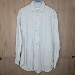 Armani Collezioni Dress Shirt Gray Medium Mens Long Sleeve Pocket Made in Italy