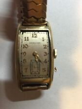 VINTAGE HAMILTON WATCH 14k gold filled  CASE Speidel band 1020-30s MISSING GLASS