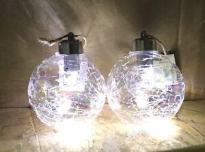 LED Light Up Crackle Christmas Bauble